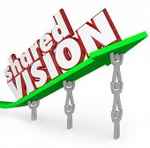 A group of workers or people in an organization lift an arrow with the words Shared Vision to illust