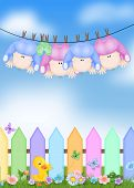 quadruplets hanging from clothesline