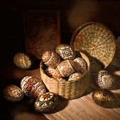 Handmade Brown Romanian Decorated Easter Egg Still-life