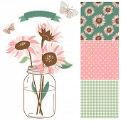 Glass Jar, sunflowers, ribbon, butterflies and cute rustic seamless backgrounds. Ideal for wedding i