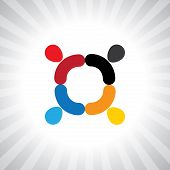 Abstract Colorful Employees Team Meeting- Simple Vector Graphic