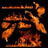 stock photo of bonfire  - High resolution fire collection isolated on black background - JPG