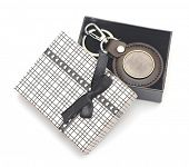 key chain with blank metal plate in gift box