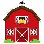 Cute Red Vector Barn with Hay, Weather Vane and Bushes