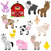 stock photo of farmhouse  - Vector Collection of Cute Cartoon Farm Animals and Barn - JPG