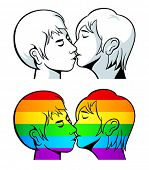 Kissing young couple contour and over gay pride flag