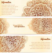 Ornate henna ornament vintage vector banners