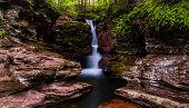 Adam's Falls, Tucked In A Small Gorge On Kitchen Creek In Ricketts Glen State Park, Pennsylvania.