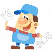Cartoon Plumber With White Background