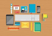 Office Elements On Desktop Illustration