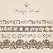 Vintage borders vector design elements collection. Floral ornament. Flourish pattern abstract. Retro