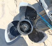 Propeller of the Old Disassembled Boat Outboard Motor