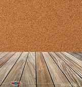 Cork board and wood floor. Vector illustration