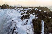 Ocean Waves Hitting Rocky Shore