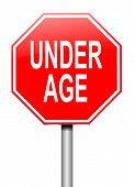 image of underage  - Illustration depicting a sign with an under age concept - JPG