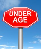 picture of underage  - Illustration depicting a sign with an under age concept - JPG