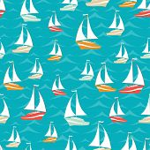 Retro seamless travel pattern of yacht.