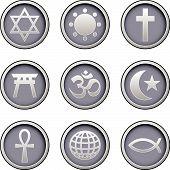 Religious Icons On Modern Button Set