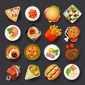 stock photo of hamburger-steak  - dishes vector icon set on gray background - JPG