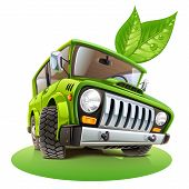 stock photo of car carrier  - eco car vector illustration on white background - JPG