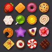 stock photo of croissant  - dessert vector icon set on gray background - JPG