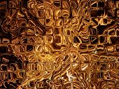 Futuristic Abstract Background Made From Golden Transparent Cubes.