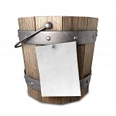 picture of bucket  - A vintage wooden bucket with metal ring supports and a handle and a blank paper attached to the front with a nail on an isolated background - JPG