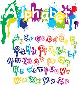 Hand Drawn Alphabet - Letters Are Made Of  Water Colors, Ink Splatter, Paint Splash Font.