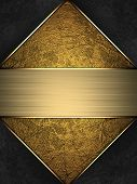 Gold texture and black corners with gold edges and nameplate