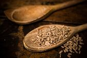 Two Wooden Spoons With Sunflower Seeds
