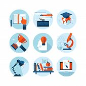 Set of modern flat design icons on the topic of knowledge and education