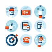 pic of marketing plan  - Set of modern flat design icons on e - JPG