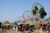 People visiting local market on Pushkar camel fair,India