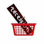 Recession In Red Basket Vector Illustration