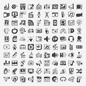 picture of tv sets  - doodle media icons set  - JPG