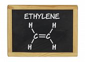 chemical formula of ethylene on a blackboard