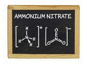 chemical formula of ammonium nitrate on a blackboard