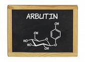 chemical formula of arbutin on a blackboard