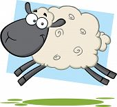 Funny Black Head Sheep Cartoon Character Jumping