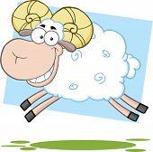 White Ram Sheep Cartoon Character Jumping