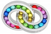 Bearings With Colorful Balls Chained Together Isolated On White