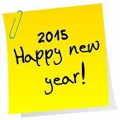 Sticker Note With 2015 Happy New Year Message