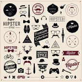 picture of top-hat  - Set of Vintage styled design Hipster icons - JPG