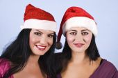 Portrait Of Beauty Women With Santa Hat
