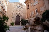 Sant'agostino Church And Saturno Fountain, Trapani