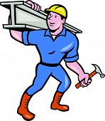 image of girder  - Illustration of construction steel worker carpenter carrying i - JPG