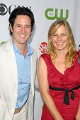Rob Morrow and Debbon Ayer  at the CBS, CW and Showtime All-Star Party. Huntington Library, Pasadena