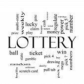 Lottery Word Cloud Concept In Black And White