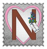 picture of letter n  - The letter N in the alphabet set  - JPG