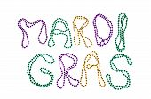 Colorful Mardi Gras beads text